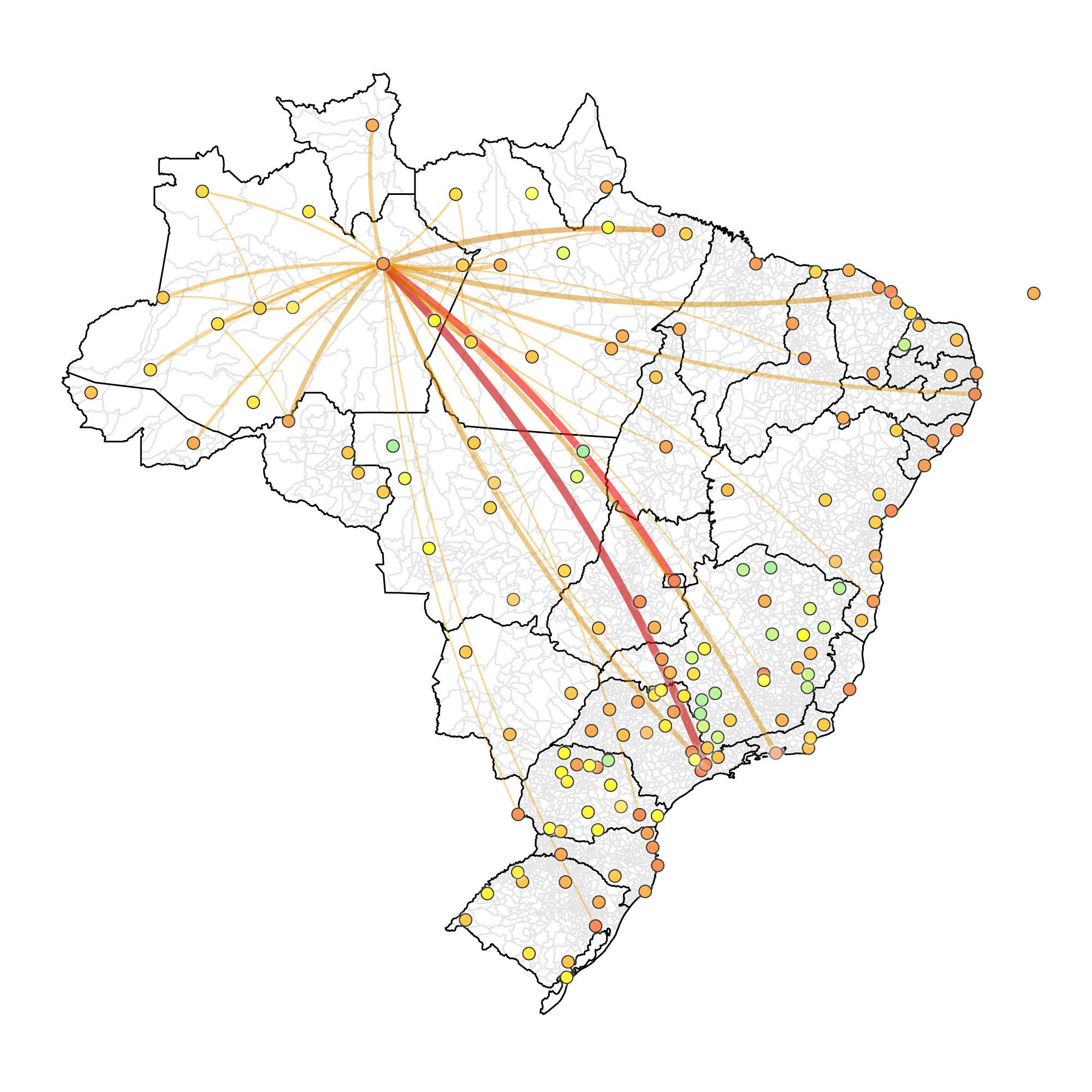 Representação da vulnerabilidade dos aeroportos brasileiros a partir do número de passageiros saindo dos aeroportos do Amazonas